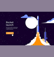rocket takes off on starry sky background vector image