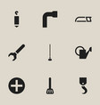 set of 9 editable instrument icons includes vector image vector image