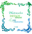 set of watercolour page decorations vector image vector image