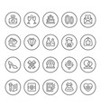 set round line icons of wedding vector image