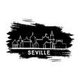seville spain city skyline silhouette hand drawn vector image vector image