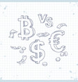sign bitcoin the dollar against the euro vector image