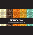 square pattern set retro 70s seamless tile vector image vector image