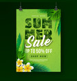 summer sale poster design template with flower and vector image vector image