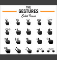 touch gesture solid icon set touchscreen and hand vector image vector image