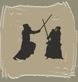 Two men engage in martial arts vector image vector image