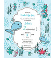 under sea marine life boy birthday invitation vector image