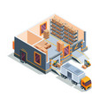 warehouse isometric big storage house machines vector image vector image