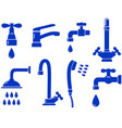 water set with isolated faucet icon vector image vector image