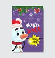 winter sale flyer design cute snowman fir tree vector image