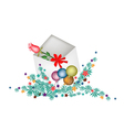 Red Rose in Open Envelope with Christmas Balls vector image