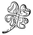 hand drawn four leaf clover saint patricks day vector image