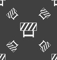 road barrier icon sign Seamless pattern on a gray vector image