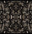 3d baroque seamless pattern floral dark vector image