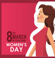8 march womens day card girl vector image vector image