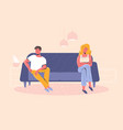 angry man and woman on different sofa sides vector image vector image