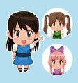 blue color set cute anime tennagers girl in dress vector image vector image