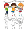 boy and girl talking on cellphone vector image vector image
