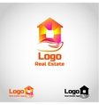 Bright real estate agency logo template with house vector image vector image
