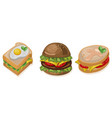 burger toast and sandwich icon detailed templates vector image vector image