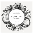 cakes cooking process background in vintage style