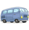 cartoon cute blue retro van bus icon vector image vector image