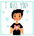 cartoon I miss you flat greeting card vector image vector image