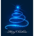 Christmas tree background with stars trail vector image vector image