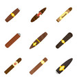 cigar cuban paper weed icons set flat style vector image vector image
