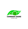 clean house logo designs with nature leaf vector image