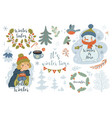 collection winter items isolate on white vector image vector image