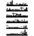 Construction site skyline set vector image vector image