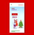 couple in santa hats standing near fir tree merry vector image vector image