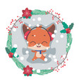 cute little jolly fox making a snow angel vector image vector image