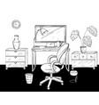 desktop home office interior design black and vector image
