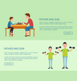 father and son web posters with push button read vector image