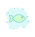 fish sign icon in comic style goldfish cartoon on vector image vector image
