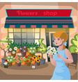 florist girl holding a pot of flowers in the vector image