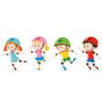 four kids wearing helmet vector image vector image
