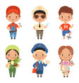 funny cartoon children characters of various vector image