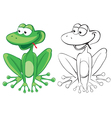 funny frog color and bw outline vector image