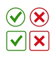Green checkmark OK and red X icons vector image vector image
