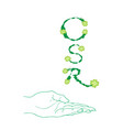 hand holding green leaves with corporate social re vector image vector image