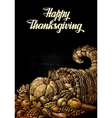 Happy Thanksgiving Cornucopia or Horn of plenty vector image vector image