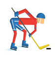 hockey player cartoon vector image vector image