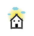 House with sticks and cloud vector image vector image