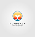 humpback whale tail logo with sunset color vector image