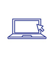 laptop computer with pointer arrow vector image vector image