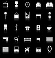 Living room icons with reflect on black background vector image vector image