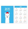 llama alpaca in santa red hat simple pocket vector image